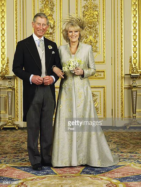 Clarence House official handout photo of the Prince of Wales and his new bride Camilla, Duchess of Cornwall in the White Drawing Room at Windsor...