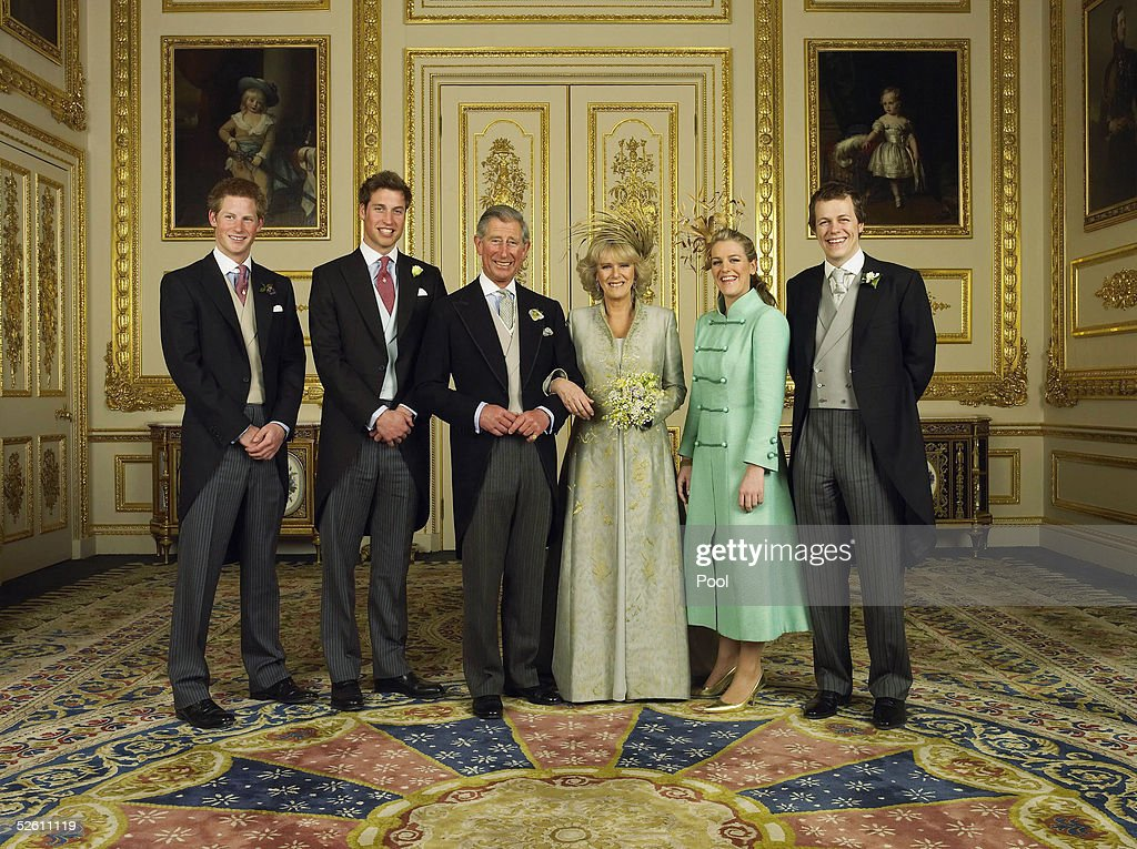 Clarence House official handout photo of the Prince of Wales and his new bride Camilla, Duchess of Cornwall, with their children (L-R) Prince Harry, Prince William, Laura and Tom Parker Bowles, in the White Drawing Room at Windsor Castle after their wedding ceremony April 9 2005, in Windsor, England.