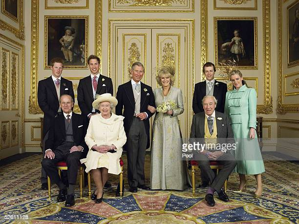 Clarence House official handout photo of the Prince of Wales and his new bride Camilla, Duchess of Cornwall, with their families Prince Harry, Prince...