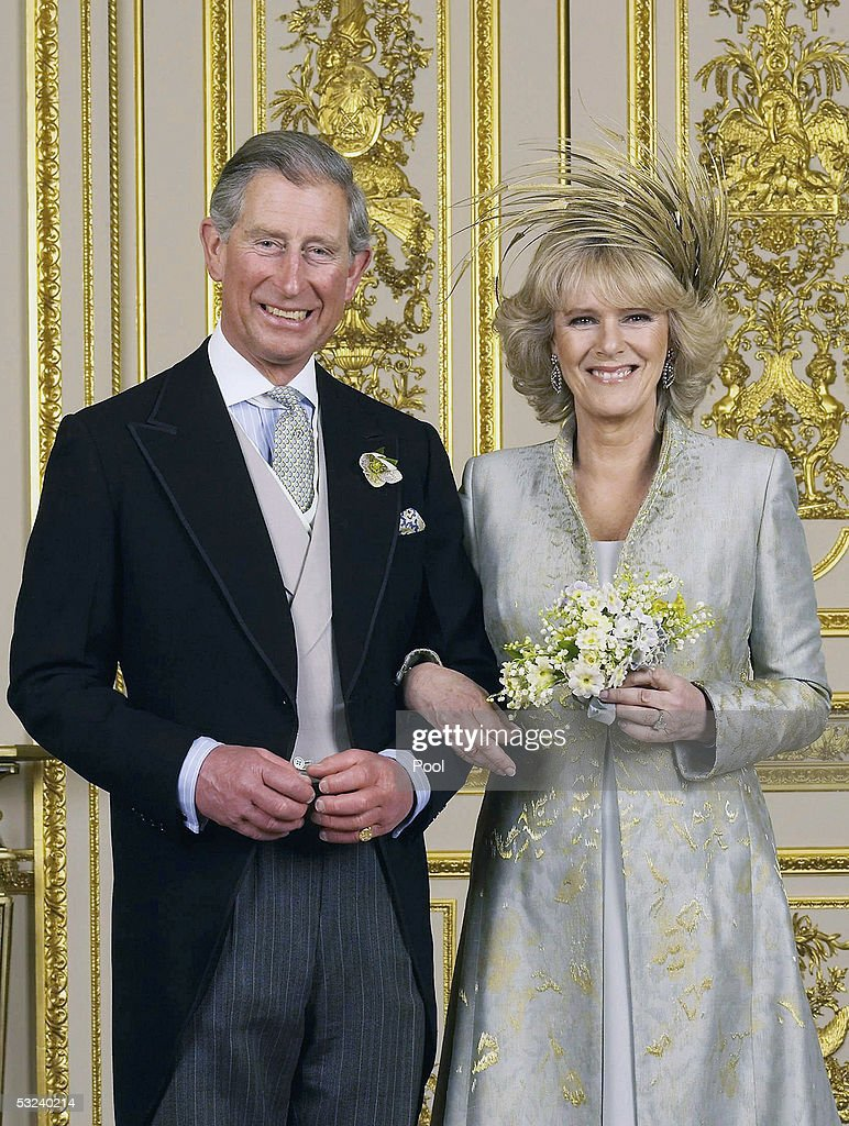 Clarence House official handout photo of the Prince of Wales and his new bride Camilla, Duchess of Cornwall in the White Drawing Room at Windsor Castle after their wedding ceremony, April 9, 2005 in Windsor, England.