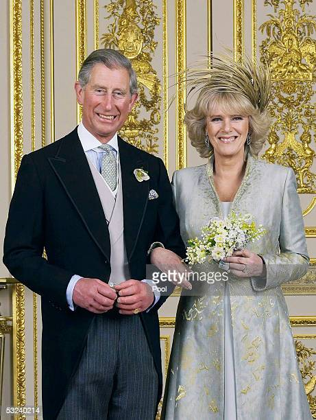 WINDSOR ENGLAND APRIL 9 Clarence House official handout photo of the Prince of Wales and his new bride Camilla Duchess of Cornwall in the White...