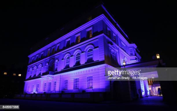 Clarence House the official residence of The Duchess of Cornwall is bathed in blue light to 'Go Blue' to mark World Diabetes Day part of an...