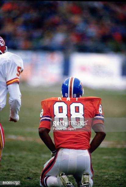 Clarence Kay of the Denver Broncos in action against the Kansas City Chiefs during an NFL football game October 4 1992 at Mile High Stadium in Denver...