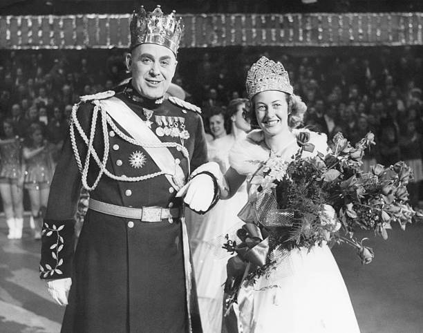 Clarence Maley as King Boreas XII and Joan Schaller as Queen of the Snows at the 1949 St Paul Winter Carnival
