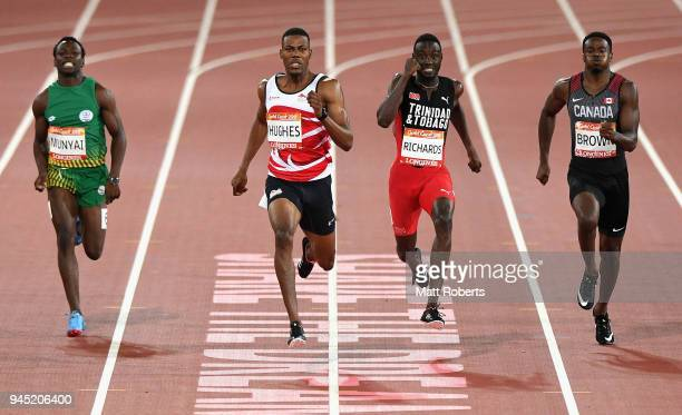 Clarence Munyai of South Africa Zharnel Hughes of England Jereem Richards of Trinidad and Tobago and and Aaron Brown of Canada compete in the Men's...