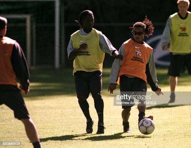 Clarence Seedorf and Edgar Davids in action at Holland's training camp in Hoenderloo