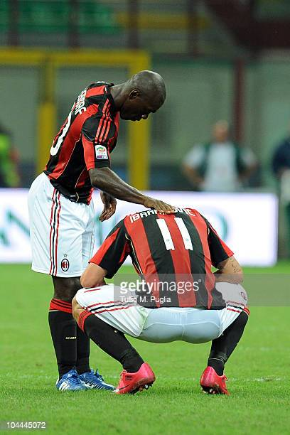 Clarence Seedorf and Zlatan Ibrahimovic of Milan look on after winning the Serie A match between Milan and Genoa at Stadio Giuseppe Meazza on...