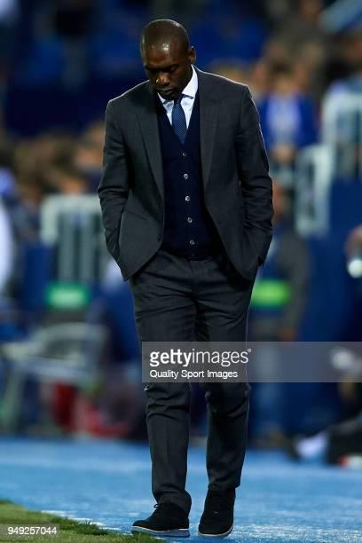 Clarence Seedorf Manager of Deportivo De La Coruna reacts during the La Liga match between Leganes and Deportivo La Coruna at Estadio Municipal de...