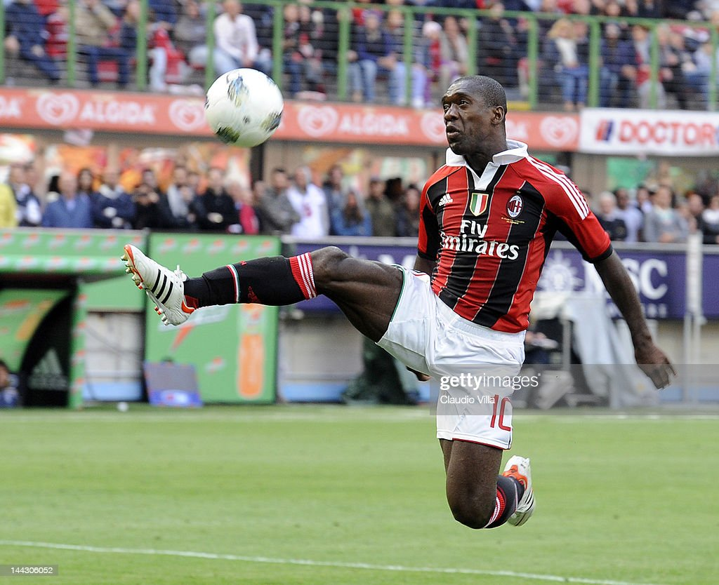 Clarence Seedorf #10 of AC Milan during the Serie A match between AC Milan and Novara Calcio at Stadio Giuseppe Meazza on May 13, 2012 in Milan, Italy.