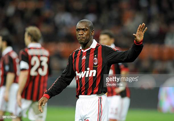 Clarence Seedorf of AC Milan during the Serie A match between AC Milan and SS Lazio at Stadio Giuseppe Meazza on March 28 2010 in Milan Italy
