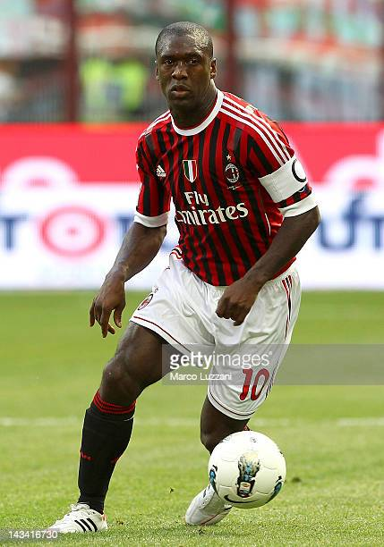 Clarence Seedorf of AC Milan in action during the Serie A match between AC Milan and Bologna FC at Stadio Giuseppe Meazza on April 22, 2012 in Milan,...
