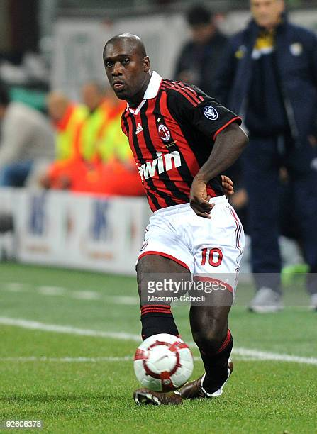Clarence Seedorf of AC Milan in action during the Serie A match between AC Milan and Parma FC at Stadio Giuseppe Meazza on October 31, 2009 in Milan,...