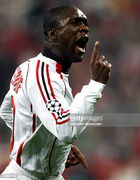 Clarence Seedorf of Milan celebrates scoring the first goal during the UEFA Champions League Quarter Final second leg match between FC Bayern Munich...