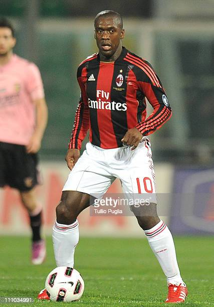 Clarence Seedorf of Milan in action during the Serie A match between US Citta di Palermo and AC Milan at Stadio Renzo Barbera on March 19 2011 in...