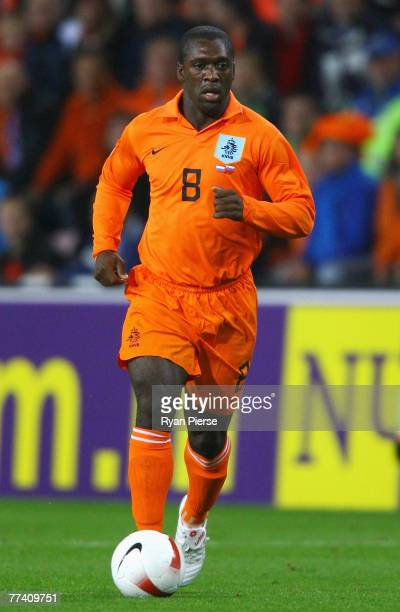 Clarence Seedorf of the Netherlands in action during the Euro 2008 Group G qualifying match between The Netherlands and Slovenia at Philips Stadium...