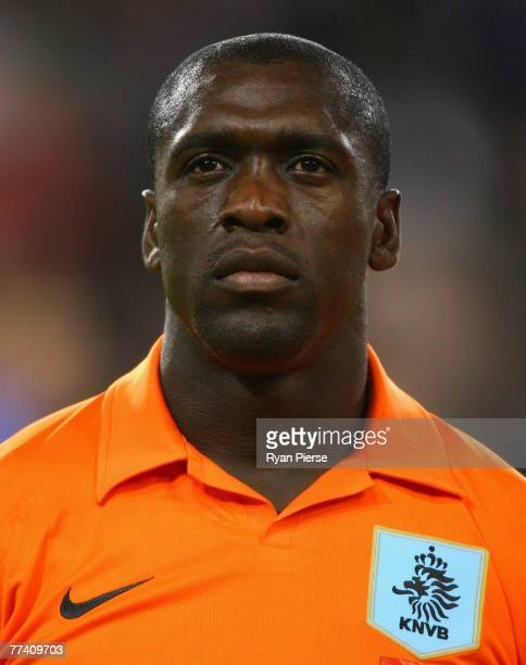 Clarence Seedorf of the Netherlands looks on before the Euro 2008 Group G qualifying match between The Netherlands and Slovenia at Philips Stadium on...