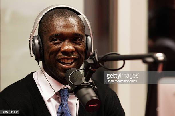 Clarence Seedorf speaks on the school radio program during the Laureus European Workshop and Project Visit held at Almere Echnaton school on December...