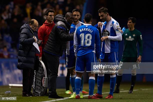 Clarence Seedorf the manager of Deportivo de La Coruna gives his team instructions during the La Liga match between Deportivo La Coruna and Real...