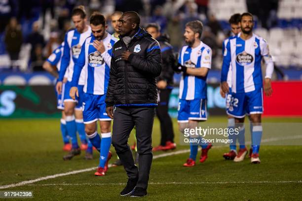 Clarence Seedorf the manager of Deportivo de La Coruna looks on at the end of the La Liga match between Deportivo La Coruna and Real Betis at Abanca...