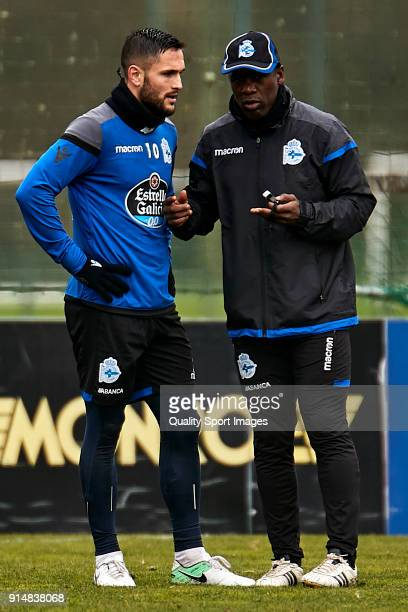 Clarence Seedorf the new manager of Deportivo de La Coruna gives instructions to Florin Andone of Deportivo de La Coruna during his first training...