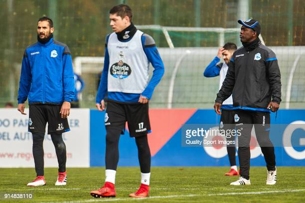 Clarence Seedorf the new manager of Deportivo de La Coruna looks on during his first training session at Abegondo Training Center on February 6 2018...