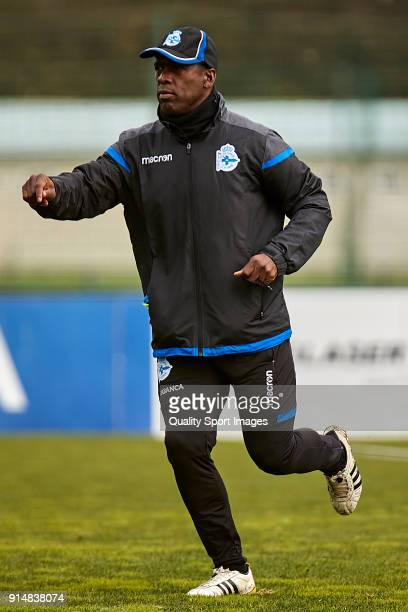 Clarence Seedorf the new manager of Deportivo de La Coruna runs during his first training session at Abegondo Training Center on February 6 2018 in...