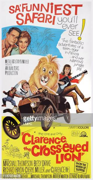 Clarence The Crosseyed Lion poster US poster art top left Marshall Thompson Betsy Drake below Richard Haydn Cheryl Miller 1965