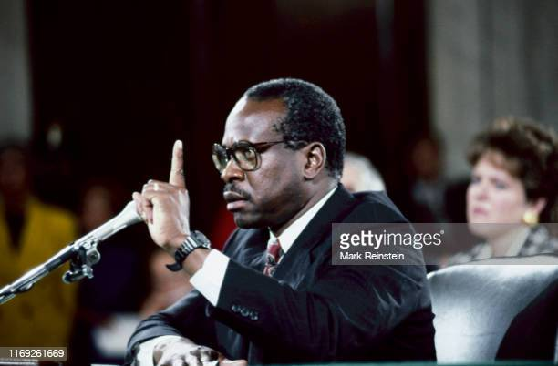 Clarence Thomas, nominee for Associate Justice of the United States Supreme Court, responds to questions from members of the Senate Judiciary...