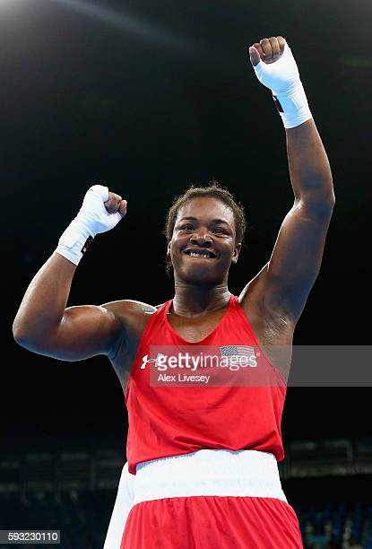 Claressa Maria Shields of the United States celebrates victory over Nouchka Fontijn of the Netherlands in the Women's Middle Final Bout on Day 16 of...