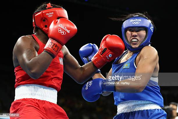 Claressa Maria Shields of the United States fights Dariga Shakimova of Kazakhstan in the Women's Middle Semifinal 1 on Day 14 of the Rio 2016 Olympic...