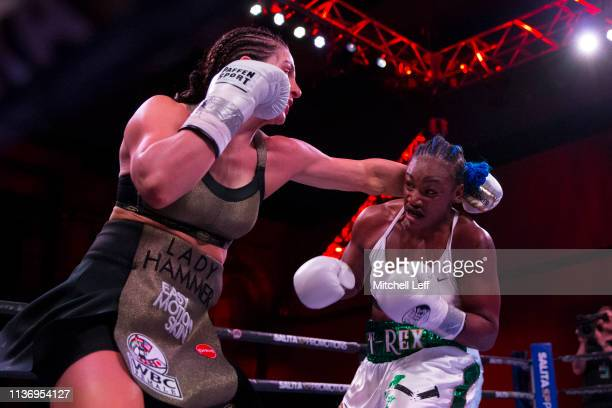 Claressa Shields and Christina Hammer exchange punches at Atlantic City Boardwalk Hall on April 13 2019 in Atlantic City New Jersey