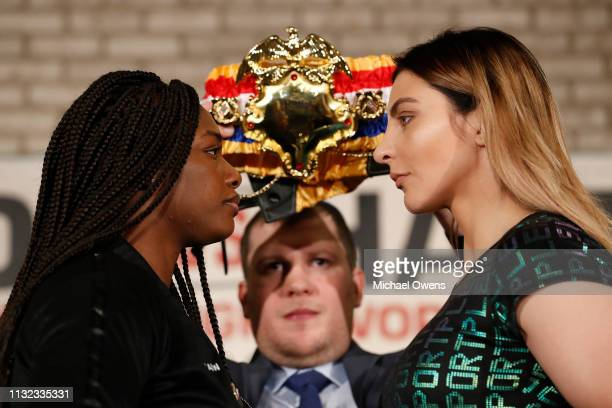 Claressa Shields and Christina Hammer faceoff during the press conference between Claressa Shields and Christina Hammer at the Dream Hotel Downtown...