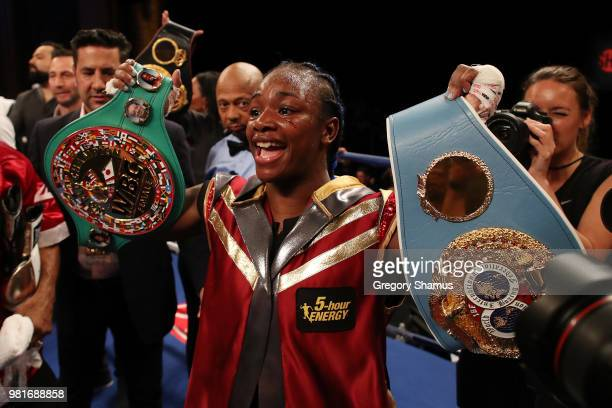 Claressa Shields celebrates winning her IBF and WBA world middleweight championship fight against Hanna Gabriels of Costa Rica at the Masonic Temple...