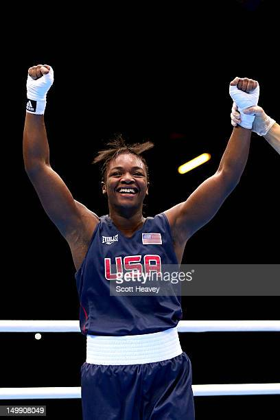Claressa Shields of the United States celebrates after defeating Anna Laurell of Sweden in the Women's Middle Boxing Quarterfinals on Day 10 of the...