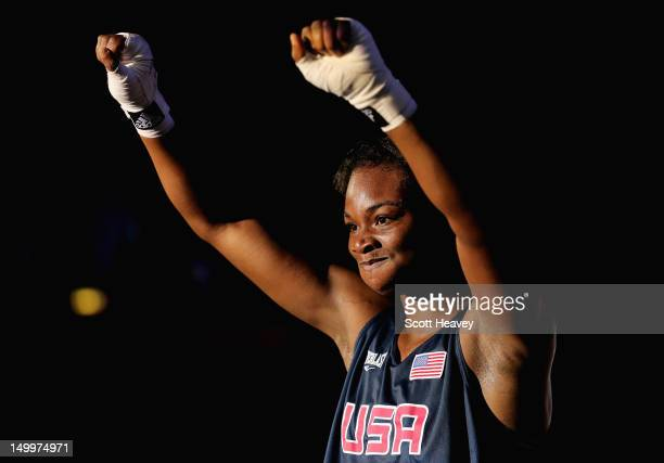 Claressa Shields of the United States celebrates her victory against Marina Volnova of Kazakhstan during the Women's Middle Boxing semifinals on Day...