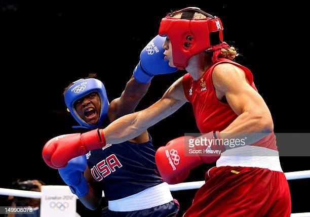 Claressa Shields of the United States competes against Anna Laurell of Sweden during the Women's Middle Boxing Quarterfinals on Day 10 of the London...