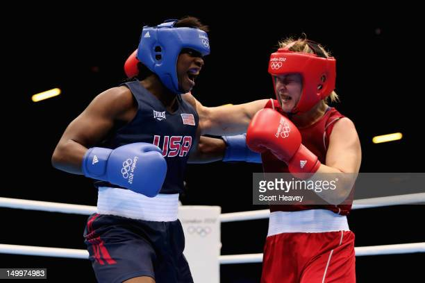 Claressa Shields of the United States in action against Marina Volnova of Kazakhstan during the Women's Middle Boxing semifinals on Day 12 of the...