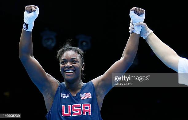 Claressa Shields of the USA is declared winner on points over Anna Laurell of Sweden in the women's Middleweight boxing quarterfinals of the 2012...