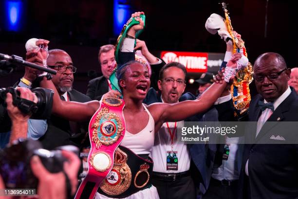 Claressa Shields reacts after defeating Christina Hammer and becoming the women's undisputed middleweight champion at Atlantic City Boardwalk Hall on...