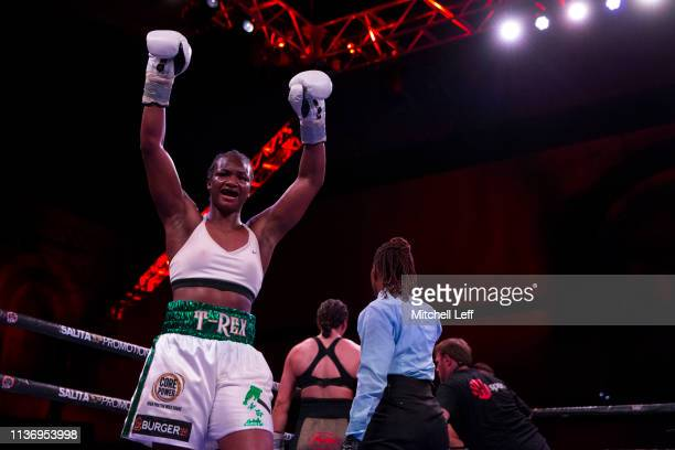 Claressa Shields reacts after the tenth round against Christina Hammer at Atlantic City Boardwalk Hall on April 13 2019 in Atlantic City New Jersey