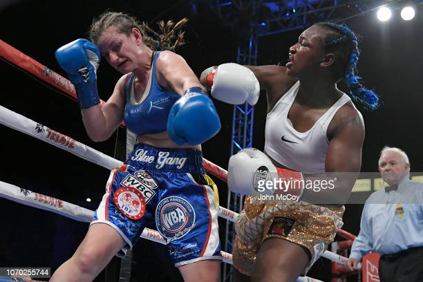 Claressa Shields snapped the head of Femke Hermans in the nineth round at StubHub Center on December 8 2018 in Carson California Shields won