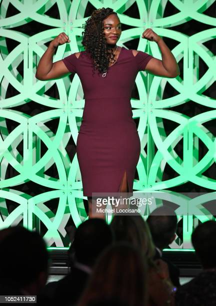 Claressa Shields speaks onstage during The Women's Sports Foundation's 39th Annual Salute To Women In Sports And The Girls They Inspire Awards Gala...