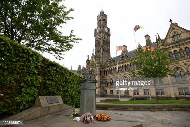 Claret and Amber wreath of flowers is laid at the Valley Parade Fire Memorial in Centenary Square in memory of the victims of the Bradford City...
