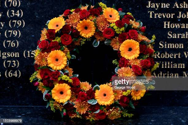 A claret and amber wreath of flowers laid at the Valley Parade Fire Memorial in memory of the victims of tragedy outside Utilita Energy Stadium also...