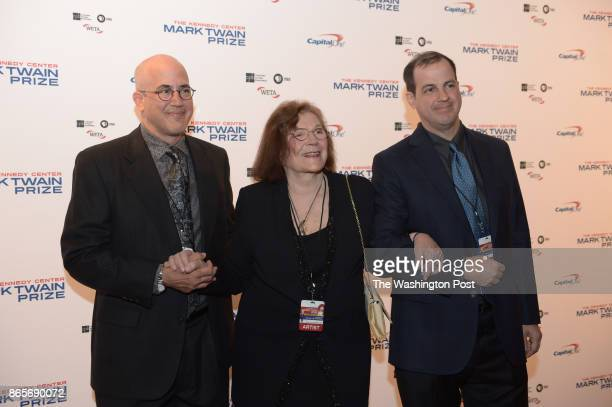 Clarice J Kestenbaum MD and her sons David left and John Stone arrive at the Kennedy Center Concert Hall to salute David Letterman recipient of the...