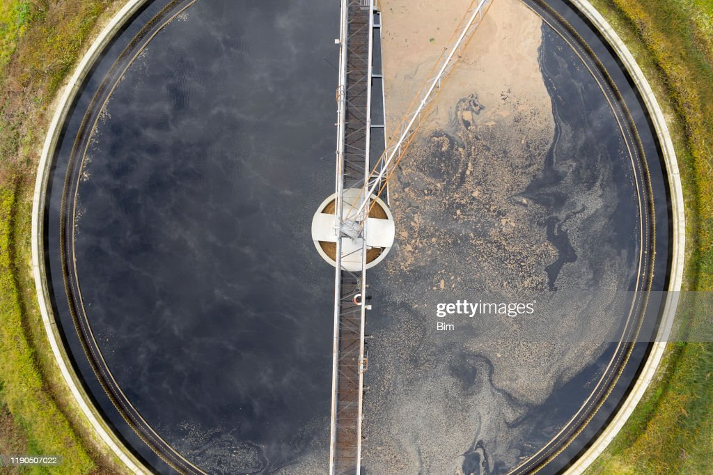 Clarifier at wastewater treatment plant, aerial view : Stock Photo