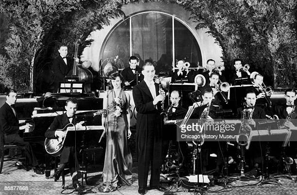 Clarinetist Benny Goodman stands in front of his big band at an unidentified venue in Chicago ca1930s Goodman who learned jazz music in Chicago's...