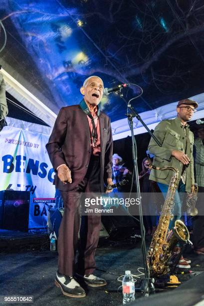 Clarinetist Charlie Gabriel and trumpeter Branden Lewis of Preservation Hall Jazz Band perform live on stage at Ray Benson's 67th birthday party...