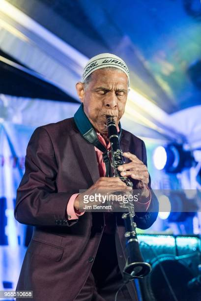 Clarinetist Charlie Gabriel of Preservation Hall Jazz Band performs live on stage at Ray Benson's 67th birthday party concert benefiting Health...