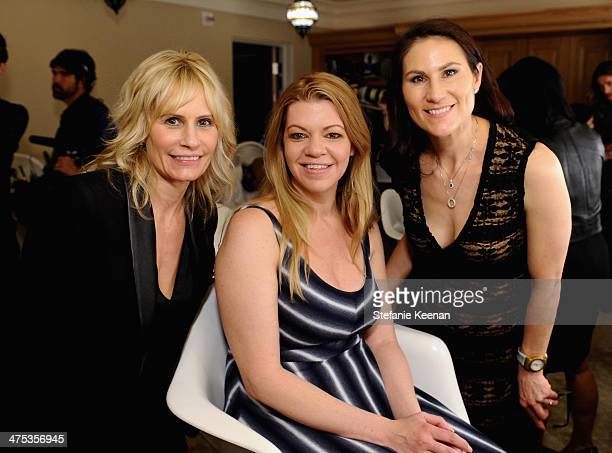 Clarisonic's Anne Talley makeup artist Robin Mathews and Clarisonic's Lisa Capparelli attend the beauty luncheon and spa day with Lancome and...